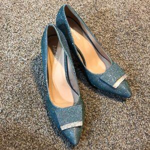 Blue Glitter heels with green undertones! SZ 8